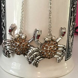 Crab Earrings, Brown Crystals, One of a Kind